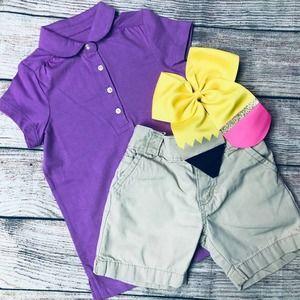 Primary Polo Shirt+Osh Kosh Shorts+Bow